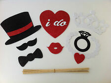 8PCS Photo Booth Props For Wedding Party Shining hat/tiara/ring... on a stick