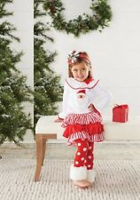 Mud Pie Baby Girls Santa Christmas Red Skirt Fur Cuff Set 111A034 Holiday New