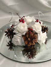 Winter Christmas wedding cake topper with berries and pine cones several colours