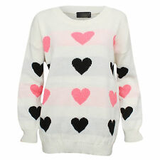 New Ladies Sparkly Heart Jumper Pink & Black Hearts Casual Knitted Jumper Top