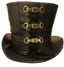 Steampunk Leather look top hat with metal buckles