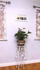 SHABBY LARGE SINGLE PLANT POT STAND DISTRESS WHITE/WHITE/SILVER/GOLD