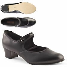 Ladies Girls Cuban Heel Black Character Shoes Button Bar by Dance Gear BCP