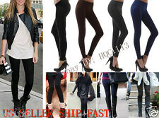 Womens FLEECE LINED Thermal THICK Solid Winter FOOTLESS Leggings Tights S/M/L/XL