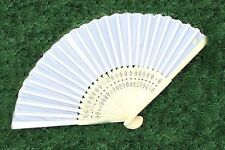 Wholesale 5 10 20 50 Quality White Silk Fabric Hand Fans  Gift Wedding Favour