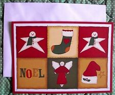 Personalized American Sign Language ASL Holiday Cards - NOEL Quilt Six Squares