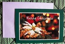Personalized American Sign Language ASL Holiday Cards - White Poinsetta & Lights