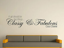 Coco Chanel Girls Two Things Decorative Wall Art Sticker Text 3 Sizes 30 Colour
