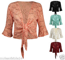 Womens Sequin Lace Floral Tie Knot Bolero Shrug Ladies Frill Crop Top Plus Sizes