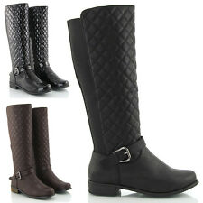 WOMENS FLAT LOW HEEL QUILTED STRETCH WIDE CALF RIDING LADIES KNEE HIGH BOOTS 3-8