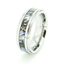 Unisex 7mm Abalone Shell Inlay Tungsten Carbide Fashion Ring US Sizes 5-14