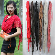 Fashion Women Charm Velvet Floral Mesh Stitching Lace Trim Long Scarf Shawl Wrap
