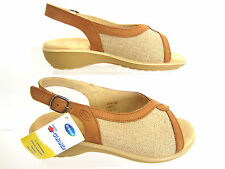 "Scholl Ladies Peep Toe Sling Back Sandals Tan ""MARGOT"" EU35 TO 41"