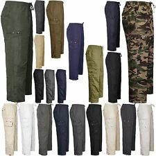 MENS COMBAT CARGO FULL ELASTICATED WAIST PANTS TROUSERS CASUAL BOTTOMS SZ M-3XL
