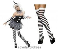 SINISTER CLOWN COSTUME AND STOCKINGS PIERROT HALLOWEEN FANCY DRESS HARLEQUIN