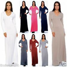 "LONG SLEEVE MAXI DRESS ""MY FAVORITE TEE"" THICK PLUSH JERSEY 8 Colors USA SELLER"