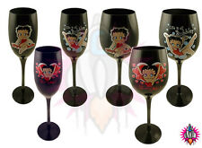 NEW BETTY BOOP BLACK WINE OR CHAMPAGNE FLUTE GLASS GLASSES SET OF 3
