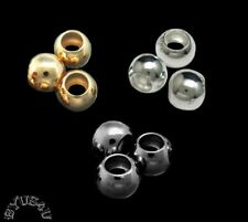 ROUND SMOOTH 6mm METAL BEADS with LARGE 3mm HOLE EUROPEAN 50pc Free Shipping