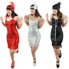 FLAPPER FANCY DRESS LADIES CHARLESTON COSTUME 20'S 30'S PLUS FEATHER HEADBAND