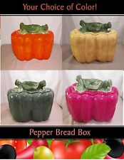 NEW KITCHEN GREEN RED YELLOW ORANGE BELL PEPPER BREAD BOX CANISTER 4 COLORS