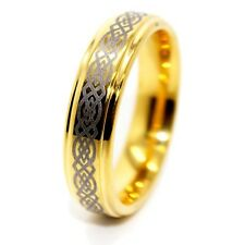 Traditional 6mm 18K Gold Plated Celtic Love Knot Tungsten Unisex Wedding Band