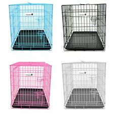 FOLDABLE METAL WIRE DOG CAGE DOG CRATE KENNEL SUITCASE METAL TRAY