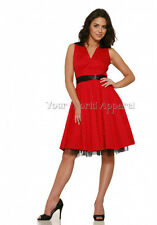 H&R LONDON RED POLKA DOT PINUP SWING HOUSEWIFE DRESS RETRO VINTAGE ROCKABILLY