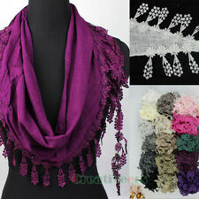 Fashion Stylish Women's Lace Triangle Scarf Shawl Wrap Floral Lace Trim Tassel