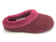 Ladies Purple Knitted Effect Mule Slippers
