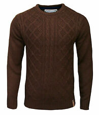 Soul Star Fuji Crew Neck Men's Cable Knit Casual Knitted Jumper Top rust 2000