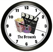 HOME THEATER CLOCK WALL MOVIE NIGHT CUSTOMIZED PERSONALIZED HOUSE WARMING