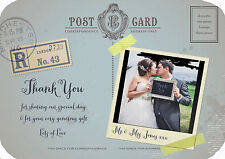PERSONALISED VINTAGE POSTCARD PHOTO WEDDING THANK YOU CARDS