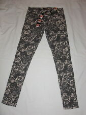 New Womens Dollhouse floral skinny jeans gray Choose Size