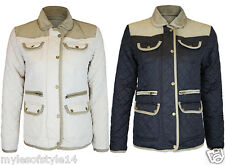 Womens Quilted Padded Barber Jacket Ladies Elbow/Shoulder Patch Coat Plus Sizes