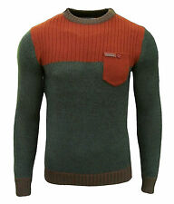 Soul Star Clayton Men's Crew Neck Two Tone Knit Jumper Top khaki orange 2020