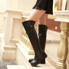 Womens Flat Winter Low Heel Faux Leather Over Thigh High Leg Knee Combat Boots
