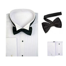 Men's French Cuff White Tuxedo Dress Shirt Wing Collar with Bow-Tie SG11a