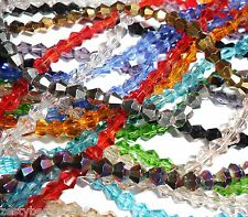 4mm Faceted Bicone Crystal Glass Beads (116 Beads per Strand) CHOOSE COLOUR