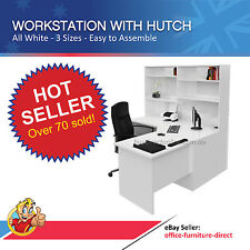 Home Office Workstation Desk with Storage Hutch, White, Corner Study Furniture