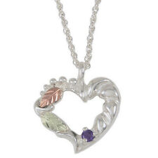 BLACK HILLS GOLD SILVER UP TO SIX 2.5MM BIRTHSTONES FAMILY HEART NECKLACE