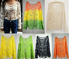 Hot Semi Sheer Women's Sleeve Embroidery Floral Lace Crochet T-Shirt Top Blouse