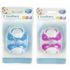 2 Colours - 2 x Baby Toddler Silicone Orthadontic Soother Dummy pacifiers
