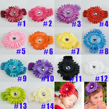 Smart baby girl hair daisy flower bow clip headband cute 14 colour soft touch