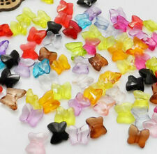100pcs Mixed Color Acrylic Cute Butterfly Spacer Beads Jewelry Findings10x9mm
