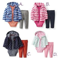NEW CARTERS Baby Girl Hooded Cardigan 3-Piece Set 6 9 12 18 24 Months Outfit NWT