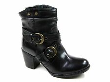 """SALE Ladies Hush Puppies Black Leather Ankle """"Moorland"""" Buckle Boots.H26982000"""