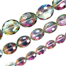 Faceted Rose Czech Glass Crystal Flat Oval Beads Pick Size 9x12,12x16,16x20mm