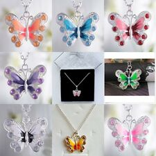 Fashion Red/Pink/Purple Crystal Enamel Butterfly Pendant Necklace