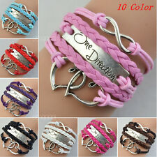 One Direction Love Heart Hand-knitted Leather Charms Chain Bracelet Gift BE0377