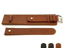 Mens Genuine Leather Watch Strap Band DAKAR Military Rivets Wrist Cuff SS Buckle